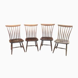 Scandinavian Beech Dining Chairs by Bengt Akerblom and Gunnar Eklöf, 1950s, Set of 4