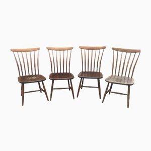 Scandinavian Beech Dining Chairs by Bengt Akerblom and Gunnar Eklöf, 1950s, Set of 4