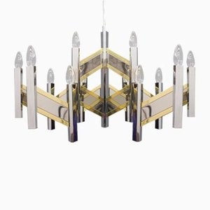 Large Chrome & Glass Chandelier from Sciolari, 1960s