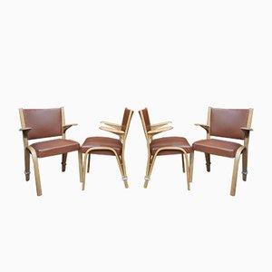 Französische Armlehnstühle aus Ulmenholz von Bow-Wood, 1950er, 4er Set