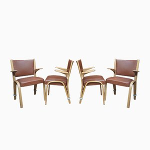 French Elm Armchairs from Bow-Wood, 1950s, Set of 4