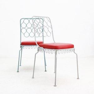 Stahlstühle mit Kunstledersitzen, 1950er, 2er Set