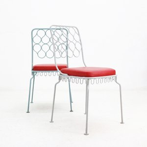 Steel Chairs with Faux Leather Seats, 1950s, Set of 2