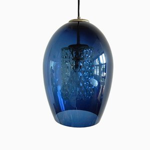 Lampe à Suspension Bleue Mid-Century en Verre