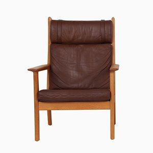 GE 265A Oak & Brown Leather Chair by Hans J. Wegner for Getama, 1960s
