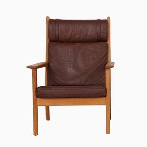 GE 265A Sessel aus Eichenholz & braunem Leder von Hans J. Wegner für Getama, 1960er