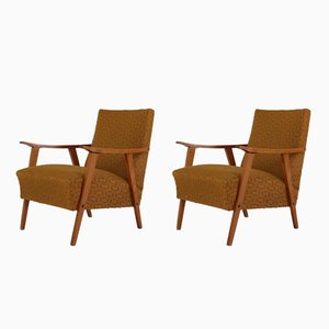 Lounge Chairs in Ocher Fabric, 1950s, Set of 2