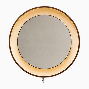 Large Vintage Illuminating Plywood Mirror