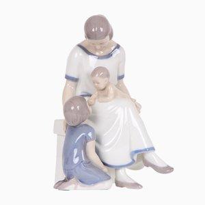 Figurina vintage in porcellana raffigurante una madre coi figli di Bing & Grøndahl