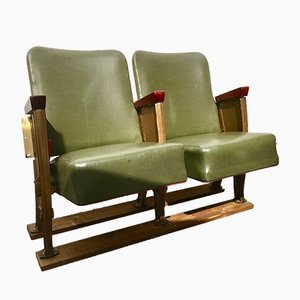 Sedute da teatro o cinema vintage in vinile verde, anni '50