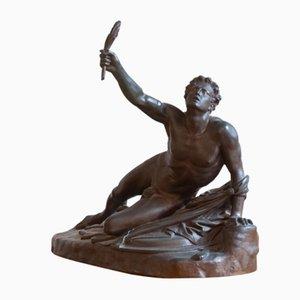 Scultura Le Soldat de Marathon Annonçant la Victoire in bronzo di Founder Ferdinand Barbedienne, fine XIX secolo