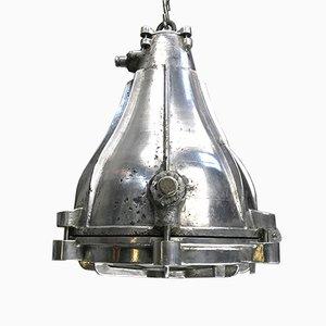 Suspension Industrielle en Verre Givré et Fonte d'Aluminium, 1978