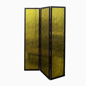 Chartreuse Lucite & Teak Folding Screen, 1960s