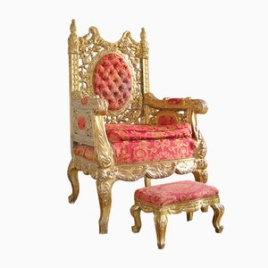 Antique Italian Gilt Thrones, Set of 2