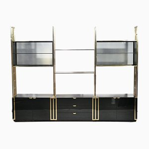 Lacquered Brass Bookshelf Wall Unit by Moltzer, 1970s