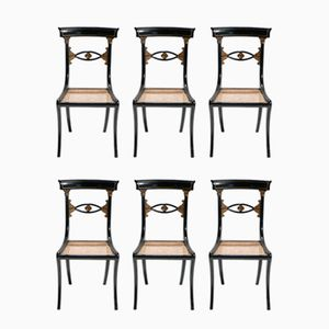 Black & Gold Directoire Style Caned Chairs, 1940s, Set of 6