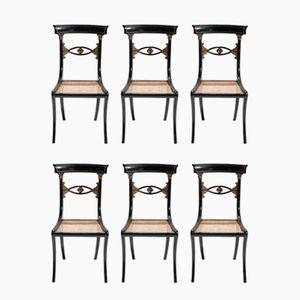 Stühle in Schwarz & Gold mit Geflecht, 1940er, 6er Set