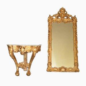 Console avec Miroir Louis XV, 1840s