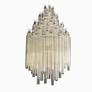 Mid-Century Tube Chandelier by Venini, 1950s
