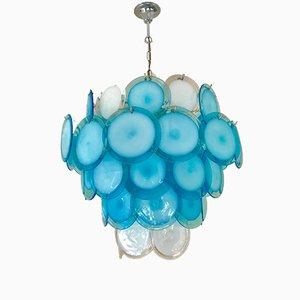Lampadario in vetro bicolore soffiato a mano di Vistosi, anni '60