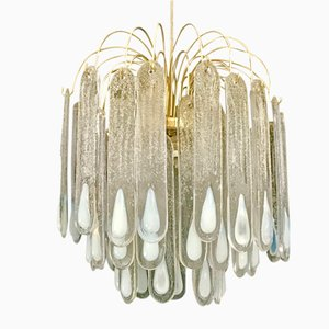 Lámpara de araña vintage de cristal de Murano, 1975