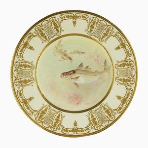 Antique Hand-Painted Porcelain Fish Cabinet Plate par C. Holloway pour Royal Doulton