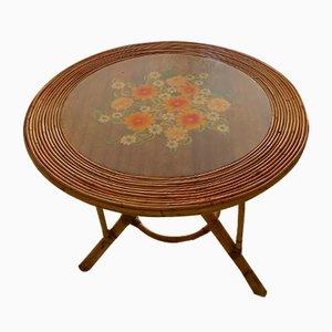 Französischer Tisch aus Messing & Rattan, 1960er