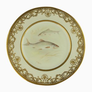 Antique Hand-Painted Porcelain Fish Cabinet Plate by A. Eaton from Royal Doulton