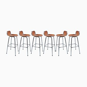 Leather & Chrome Bar High Stools, 1960s, Set of 6