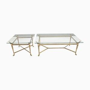 Tables Modernes en Laiton et Verre, Italie, 1980s, Set de 2