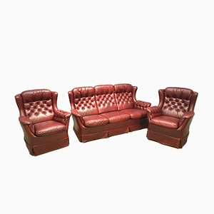 Sofa Set with Two Chesterfield Club Chairs, 1970s