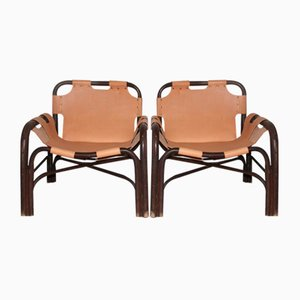 Bamboo & Leather Armchairs by Tito Agnoli for Vittorio Bonacina, 1960, Set of 2