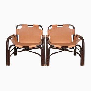 Sessel aus Bambus & Leder von Tito Agnoli für Vittorio Bonacina, 1960, 2er Set