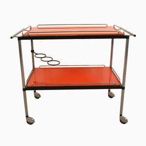 Orange Serving Bar Trolley, 1950s