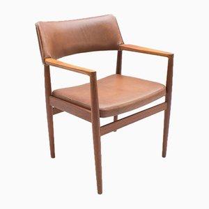 Sedia in teak e pelle, Scandinavia, anni '60
