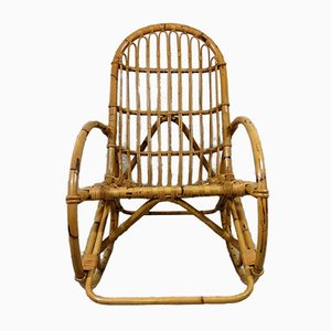 Rocking Chair Vintage en Rotin
