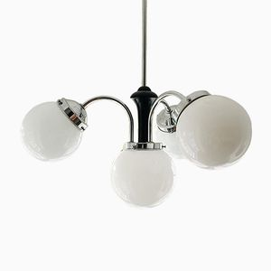 Vintage Art Deco Chrome & Opaline Glass Ceiling Light