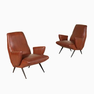 Leatherette Armchairs by Nino Zoncada, 1950s, Set of 2