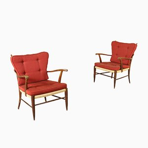Italian Raffia Armchairs, 1950s, Set of 2
