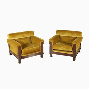 Italian Velvet Armchairs in Stained Wood, 1960s, Set of 2