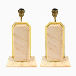 Belgian Marble & Brass Table Lamps, 1970s, Set of 2