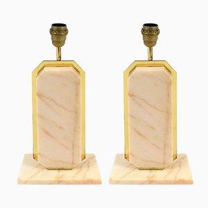 Lámparas de mesa belgas de latón y mármol, años 70. Juego de 2