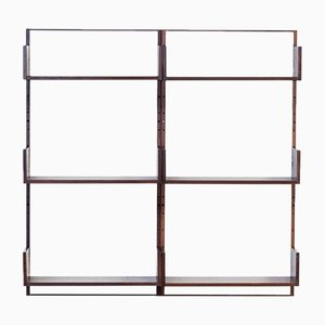 Rosewood & Seagrass Canvas Wall Unit by Marten Franckema for Fristho, 1960s