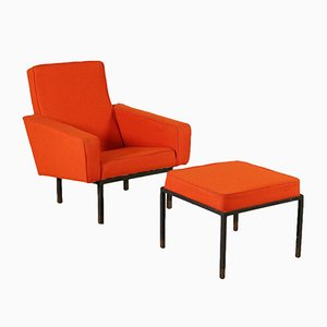 Mid-Century Armchair with Footstool by Franco Campo & Carlo Graffi for Home