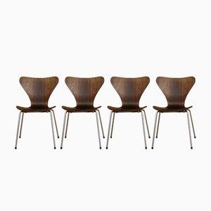 Danish Dining Chairs by Arne Jacobsen for Fritz Hansen, 1955, Set of 4