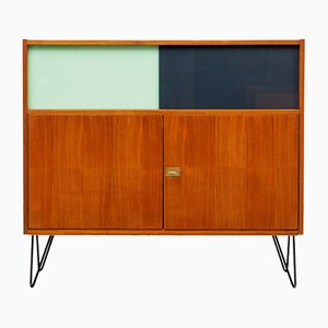Cabinet with Sliding Glass Doors & Hairpin Legs, 1960s