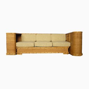 Deutsches Art Deco Sofa aus Rattan & Bambus von Arco, 1940er