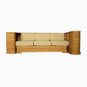 German Art Deco Rattan & Bamboo Sofa from Arco, 1940s