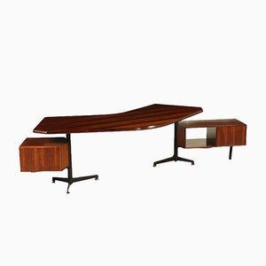 Rosewood Desk by Osvaldo Borsani, 1950s