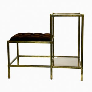 Brass Side Table with Small Seat, 1970s